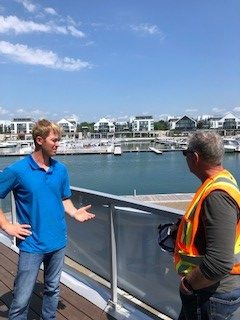 Site Supt. Andrew with Ontario's Chief Prevention Officer, Ron Kelusky Discussing at Friday Harbour.